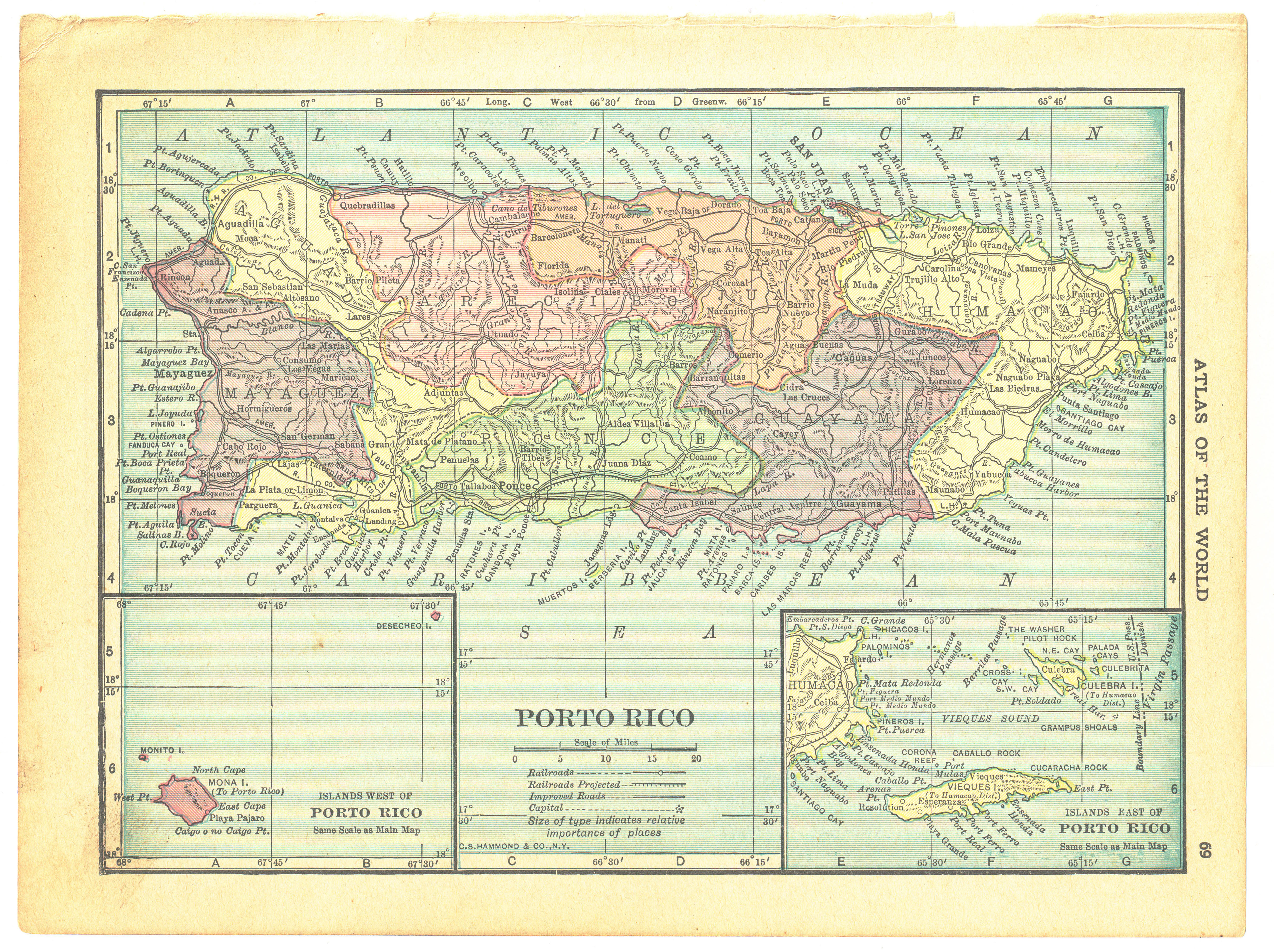 Details zu Spokesman Handy Atlas Vintage Map Pages (Puerto Rico on one side  - Cuba - Can...