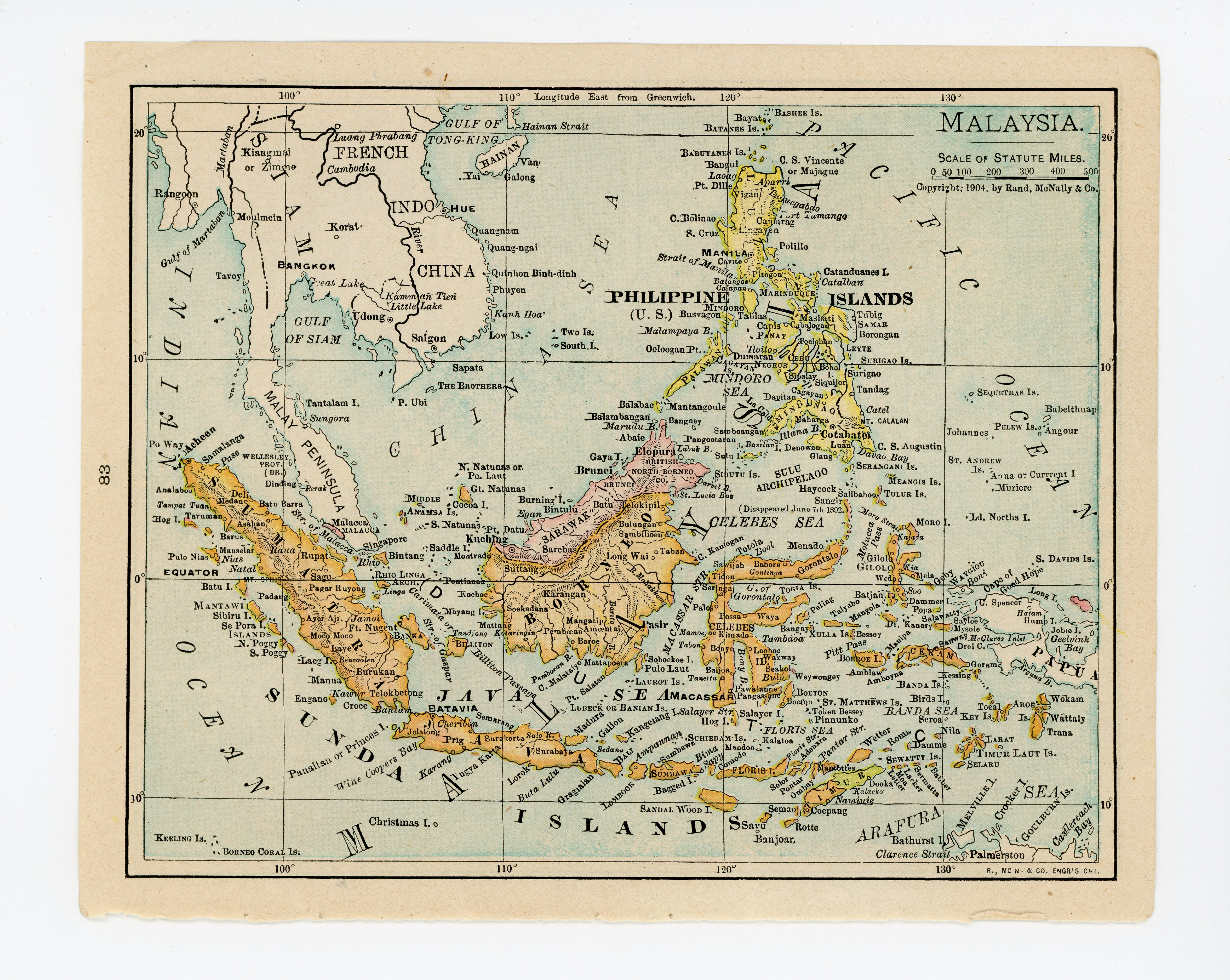 Details about 1911 Concise Atlas Vintage Map Pages - Japan on one side  Malaysia on the othe...