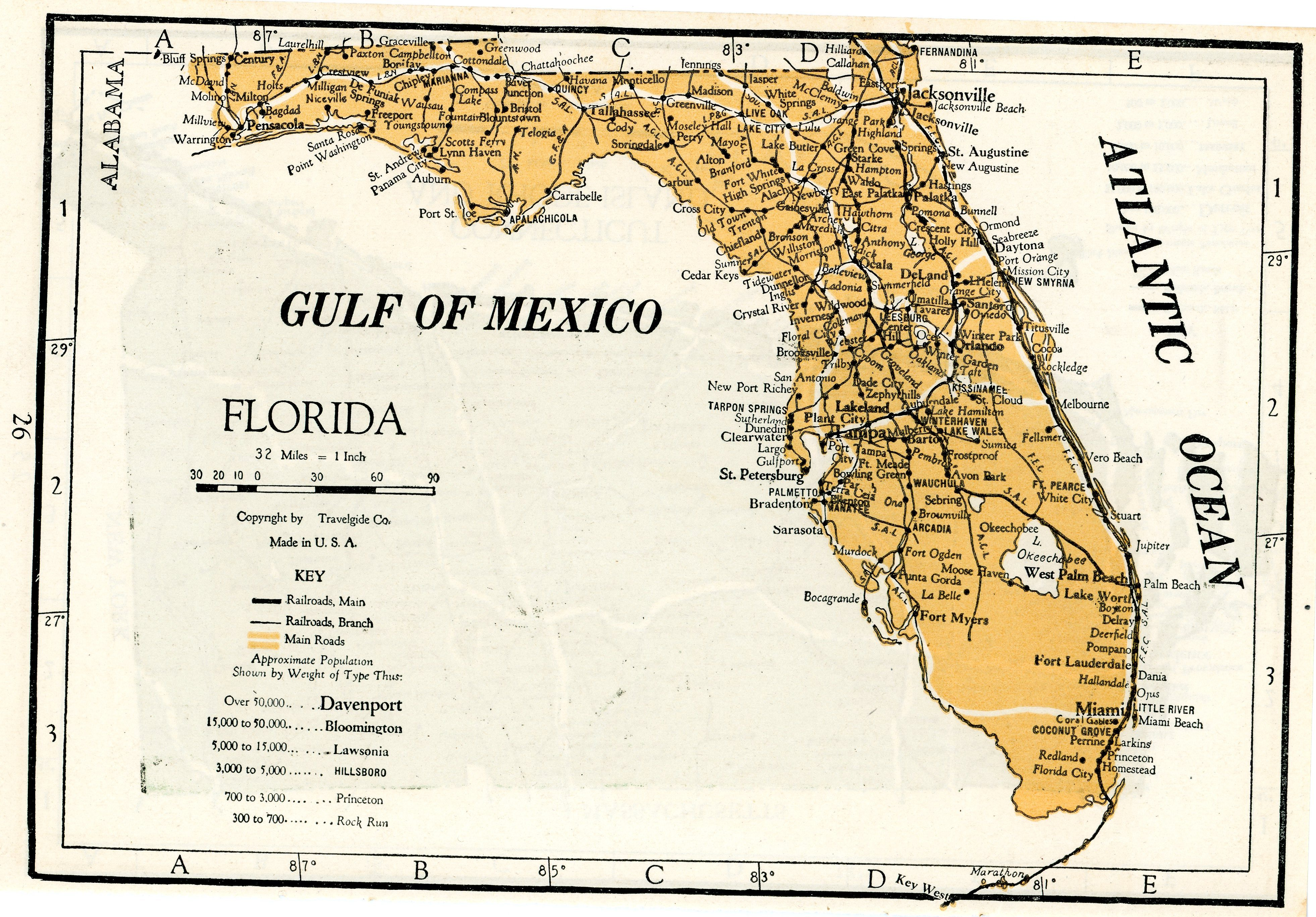 Complete Map Of Florida.1928 Complete Atlas Vintage Map Pages Connecticut Rhode Island