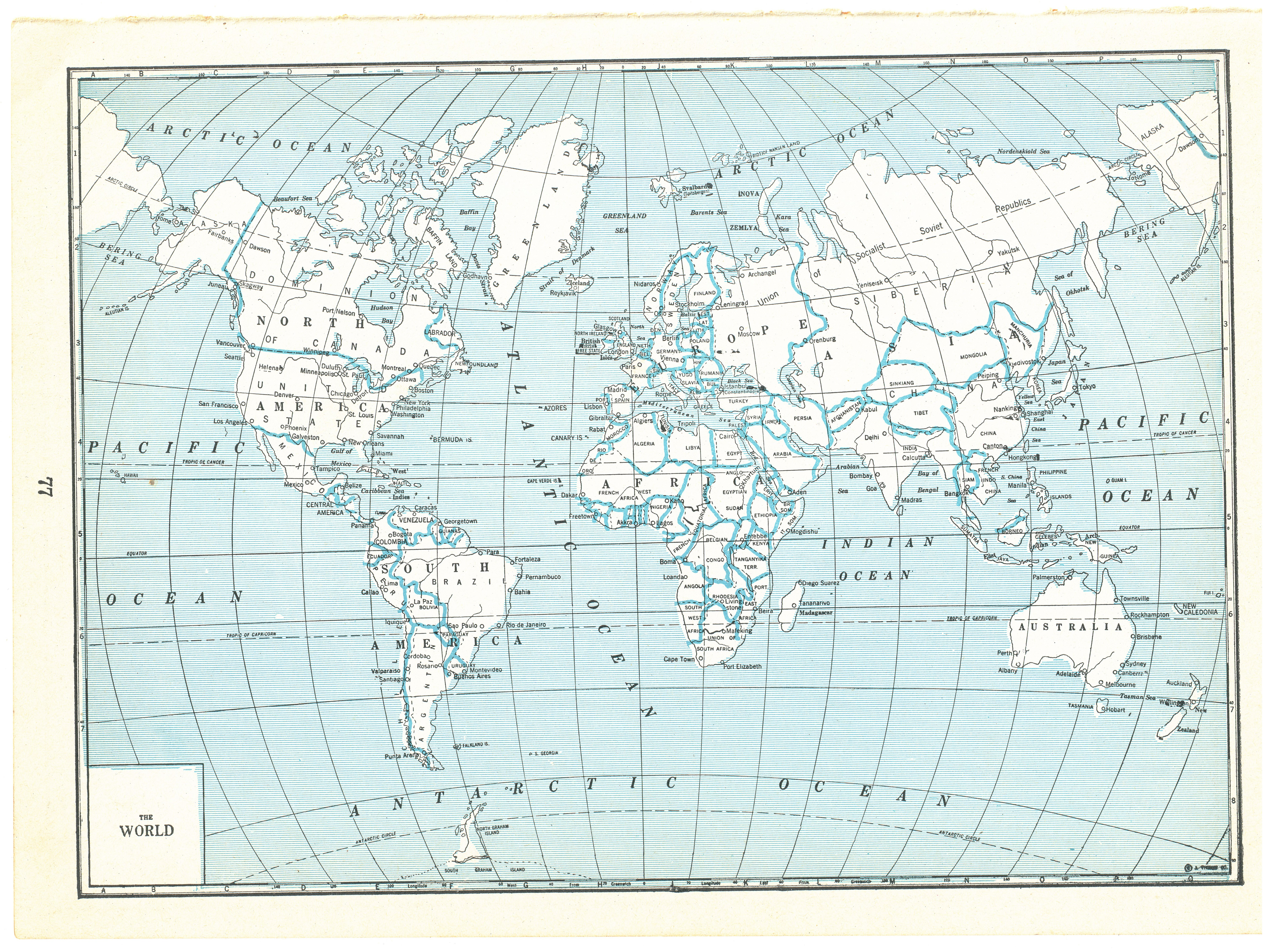 Details about 1940 Cappers Atlas Vintage Map Pages - World on one side and  North America on...